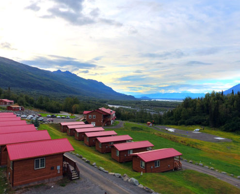 Knik River Lodge cabins and glacier helicopter tours.