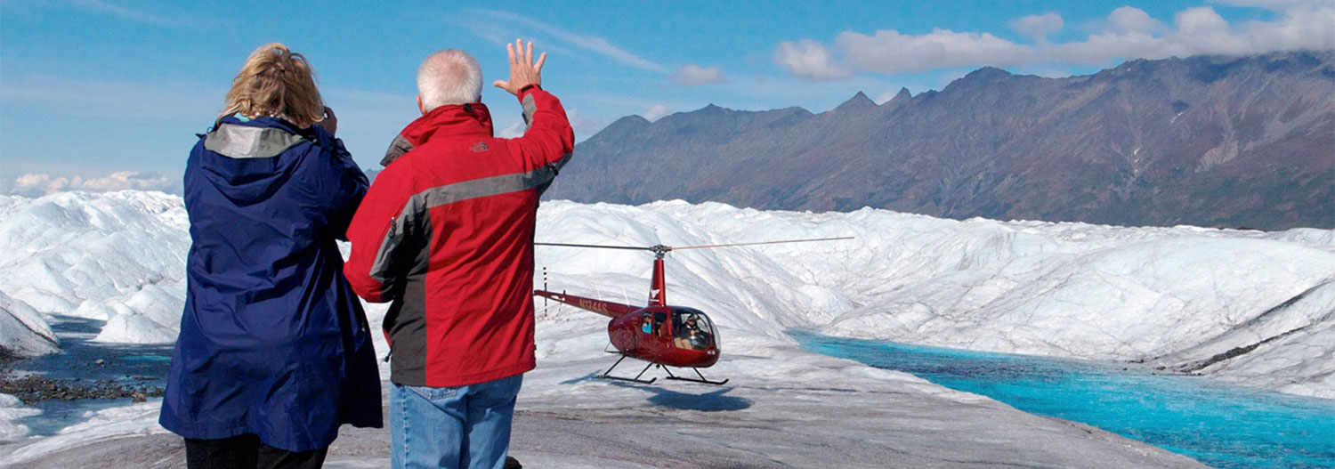Helicopter tours from Knik River Lodge.