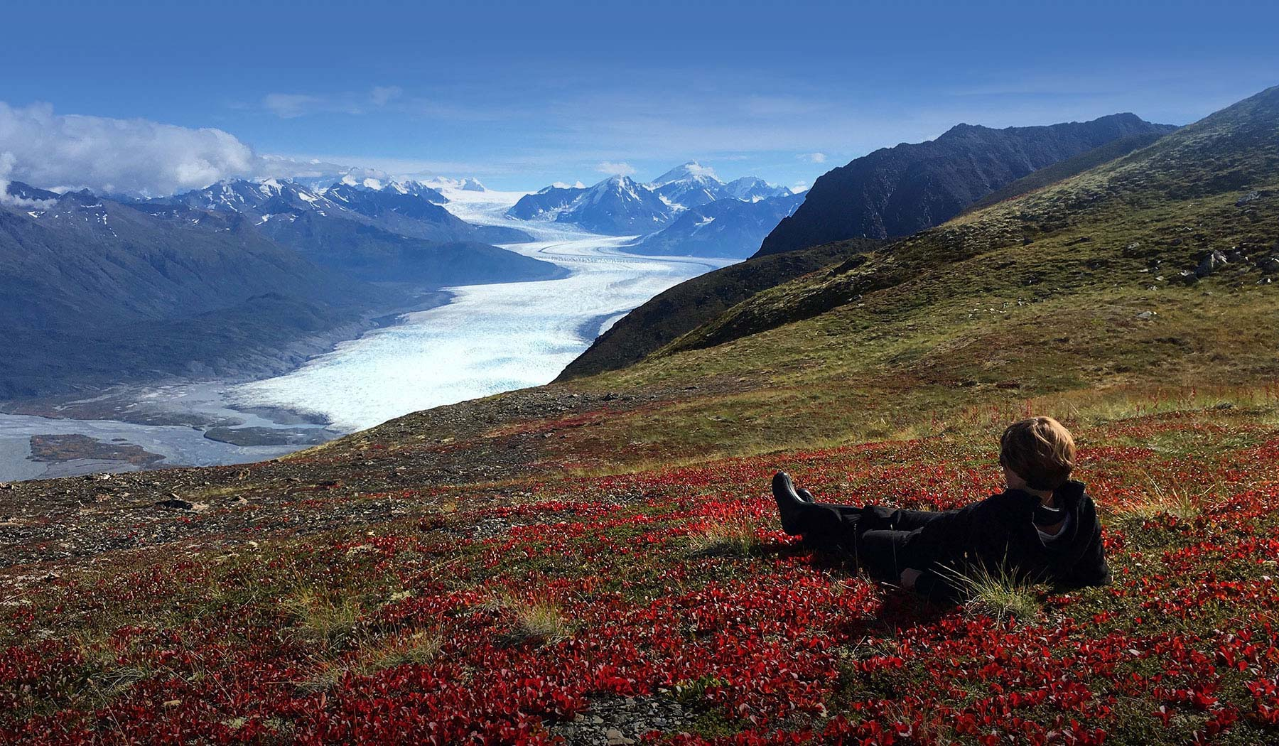 Helicopter flightseeing, hiking and dog sledding from Knik River Lodge