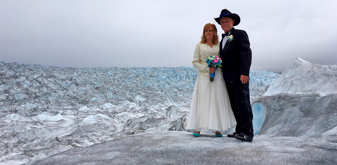 Wedding on a glacier from Knik River Lodge